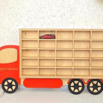 Полка фургончик для машинок хотвилс, автопарк,гараж,стеллаж, паркинг в виде автомобиля, машинки.