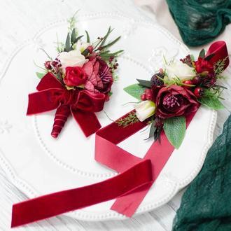 Комплект свадебных украшений: бутоньерка и браслет