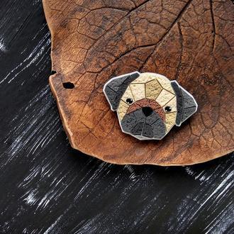 Брошь собака Мопс. Авторская полигональная брошь собака Мопс. Геометрическая оригинальная брошь