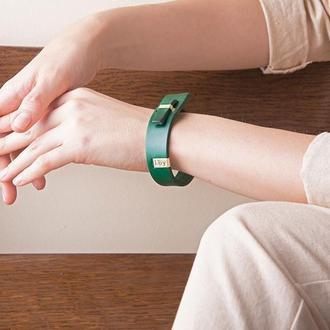 Кожаный браслет LUY N.2 один оборот (зеленый)