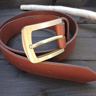 Широкий коричневый кожаный ремень, толстый ремень ручной работы, ремень из натуральной кожи