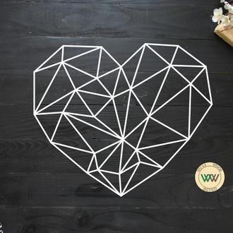 """Настенное панно """"Сердце"""", геометрия. Полигональная картина из дерева"""