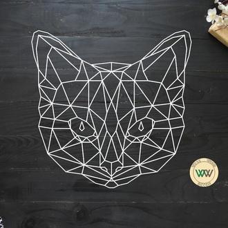 """Настенное панно """"Кошка"""", геометрия. Полигональная картина из дерева"""