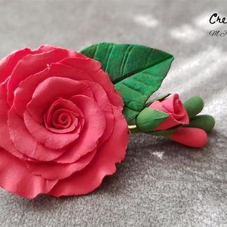 """Заколка-брошь """"Красные розы"""""""