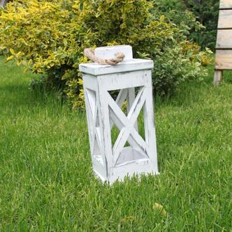 Декоративный деревянный фонарь, деревянный подсвечник
