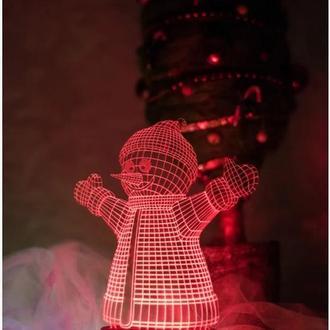 Ночник Снеговик, лампа, светильник, новогодний подарок ребенку, декор детской, игрушка
