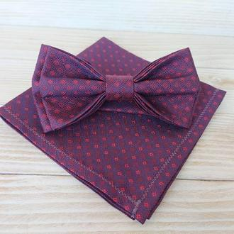 Фиолетовая галстук бабочка в розовую клеточку