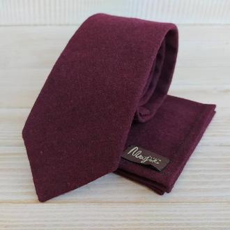 Вишневый шерстяной галстук