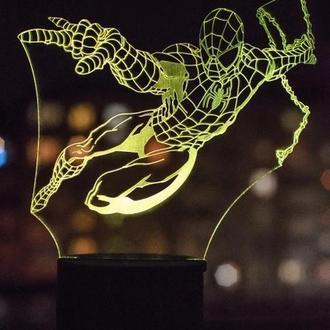 Ночник 3d светильник Человек-паук, Спайдермен, игрушка, подарок для мальчика, необычный сувенир