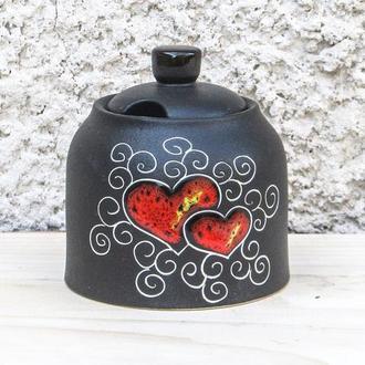 Цукерничка декор Серце чорна