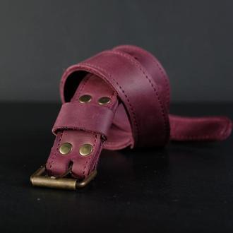 Детский ремень Винтажная кожа цвет Бордо