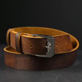 Кожаный пояс под джинсы цвет коньяк с пряжкой №4