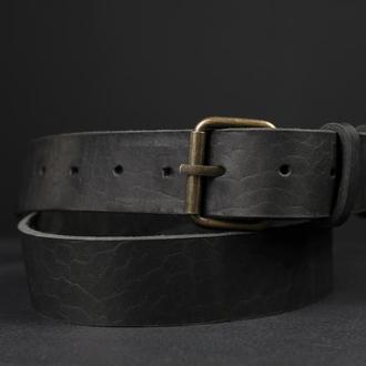 Кожаный пояс под джинсы цвет Черный с пряжкой №1