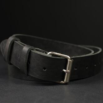 Кожаный пояс под джинсы цвет Черный с пряжкой №2