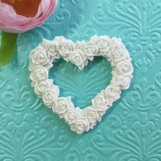 Рамка Цветочное Сердце, гибкая, 4,8*5,2 см.