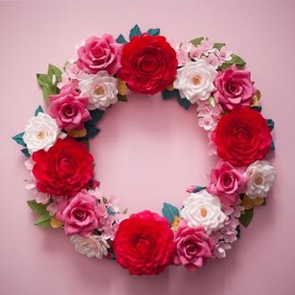 Интерьерный венок в розовых тонах