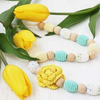 Слингобусы с цветком в пастельных тонах (желтый, белый, мятный)