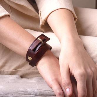 Кожаный браслет LUY N.2 два оборота (махагон). Браслет из натуральной кожи