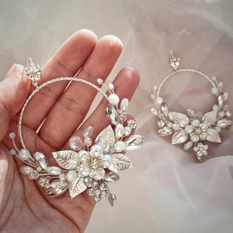 Серьги, свадебные серьги, серьги для невесты, пышные серьги
