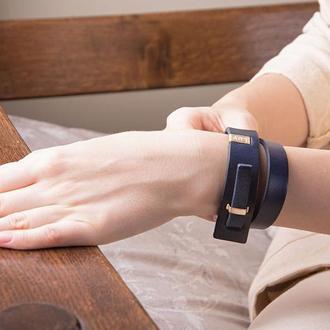 Кожаный браслет LUY N.2 два оборота (синий). Браслет из натуральной кожи