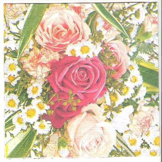 Салфетка трехслойная для декупажа Розы и ромашки