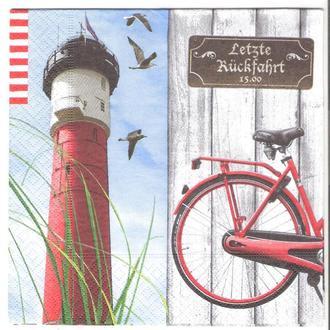 Салфетка трехслойная для декупажа маяк велосипед