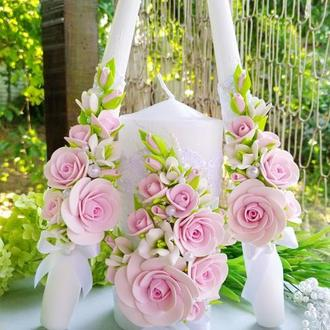 """Свадебные свечи сейный очаг """" Розовые розы с фрезией"""""""