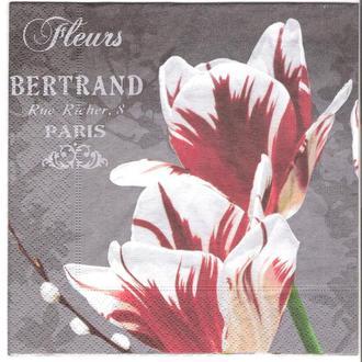 Салфетка трехслойная для декупажа тюльпаны на сером фоне