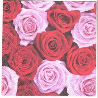 Салфетка трехслойная для декупажа красные и розовые розы
