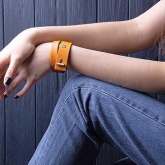 Шкіряний браслет LUY N. 3 два обороту (жовтий). Браслет з натуральної шкіри