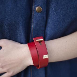 Кожаный браслет LUY N.3 два оборота (красный). Браслет из натуральной кожи