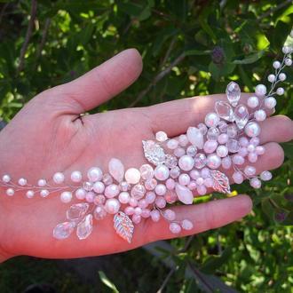 Свадебное украшение для волос, веточка в прическу, украшение для свадебной прически