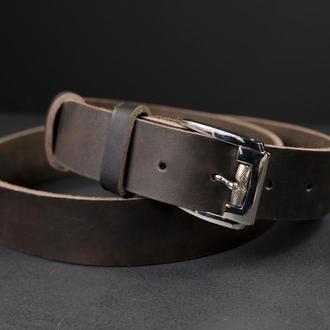 Кожаный пояс под джинсы цвет кофе с пряжкой №4
