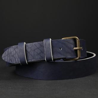 Кожаный пояс под джинсы цвет кофе с пряжкой №1