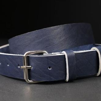 Кожаный пояс под джинсы цвет кофе с пряжкой №2
