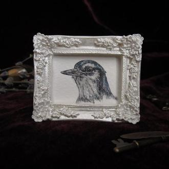 Птица. Миниатюрная живопись