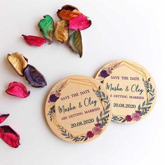 Свадебный магнит из дерева, пригласительные на свадьбу