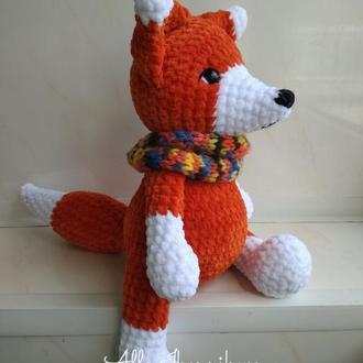 Плюшевая лисичка, вязаная лиса, лисичка игрушка