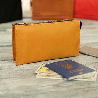 Мужской кожаный кошелек-, большое вместительное мужское портмоне из кожи