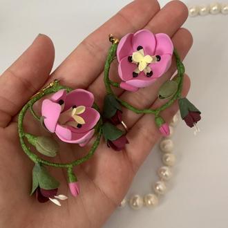 """Серьги с цветами  """"Тюльпаны"""""""
