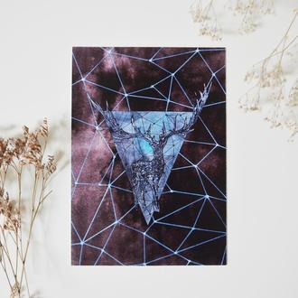 """Открытка """"Геометрический олень"""""""