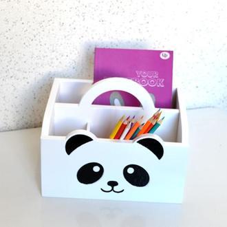 Карандашница подставка коробка коробочка под карандаши ручки тетради органайзер детский Пандочка