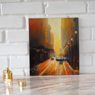 """Картина маслом """"Утренний город"""" Картина олійними фарбами """"Ранкове місто"""""""