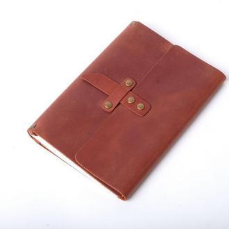 Кожаный блокнот А5 «Nota5 Cognac» (коричневый, с гравировкой, для рисования, мужской, женский)