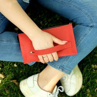 Кожаный кошелек с ремешком