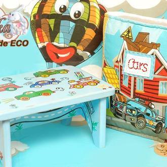 детский деревянный табурет стульчик с подушкой Тачки