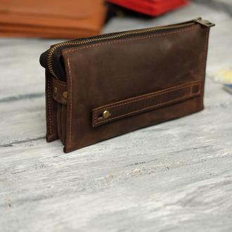 Кожаный кошелек с ручкой