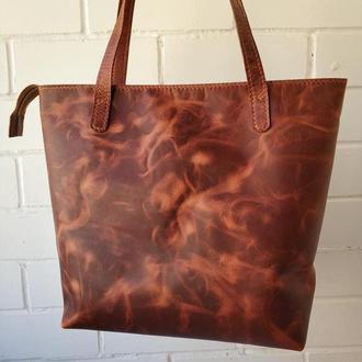 Женская кожаная сумка шоппер Stedley трапеция коньячный
