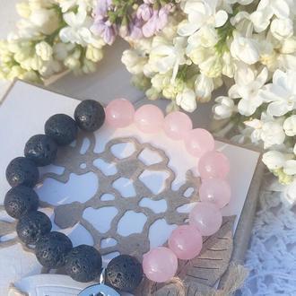 Браслет из натуральных камней, браслет из розового кварца и лавового камня,браслет на подарок