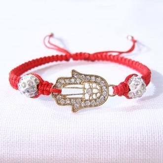 Золотистая рука Фатимы- красная нить на руку